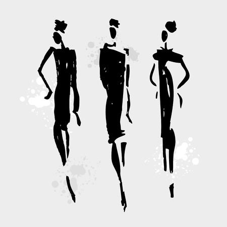 abstract black: Beautiful Woman silhouette. Hand drawn fashion illustration. Illustration
