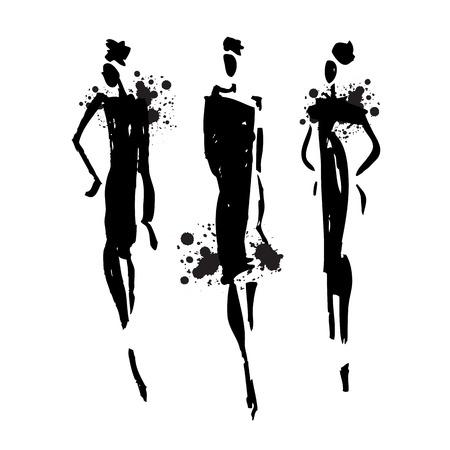 Beautiful Woman silhouette. Hand drawn fashion illustration. Ilustração