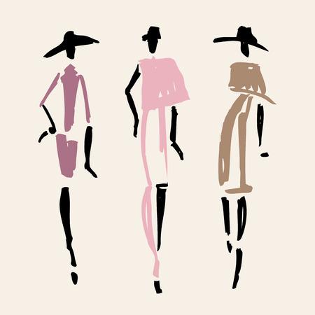 Beautiful Woman silhouette. Hand drawn fashion illustration. Illustration