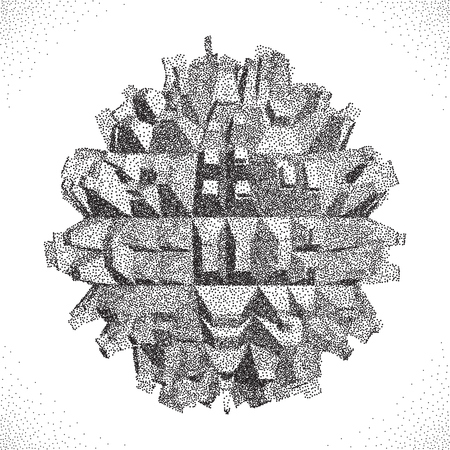 abstract shape: 3D Vector illustration. Abstract shape. Halftone style