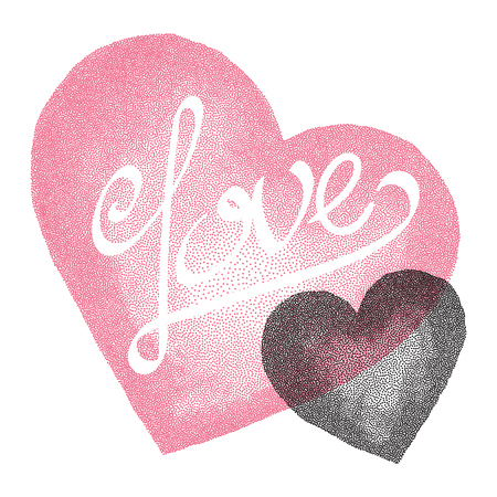 two hearts: Love Card for Valentines Day. Two hearts, Vintage engraved illustration style.