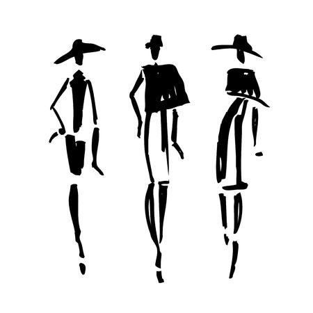 時尚: 美麗的女人的剪影。手繪時尚插畫。