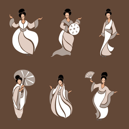 exotic woman: Beautiful Chinese Women in ethnic style. Vector Illustration