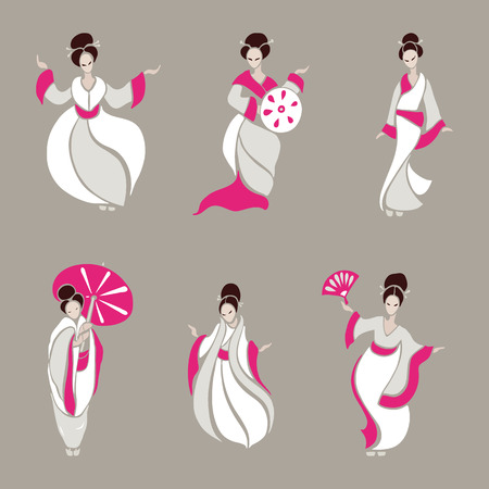 donne cinesi: Beautiful Chinese Women in ethnic style. Vector Illustration