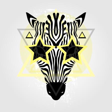 animal print: Cabeza Zebra patrón tribal. Estilo abstracto ilustración vectorial Vectores