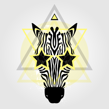 cabeza de zebra: Zebra head Tribal pattern. Abstract style Vector illustration