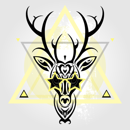 tete de cerf: Deer head Tribal pattern. Polynesian tattoo style. Vector illustration. Illustration