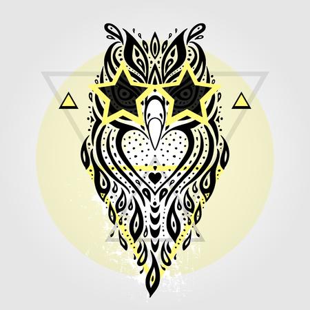animal print: Búho patrón tribal. Estilo abstracto ilustración vectorial