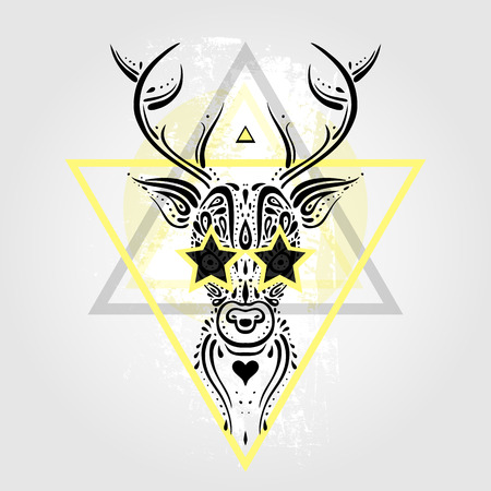 tete de cerf: Deer Head motif tribal. Style de tatouage polyn�sien. Vector illustration.