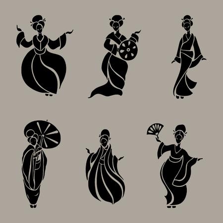 elegant woman: Beautiful Chinese Women in ethnic style. Vector Illustration