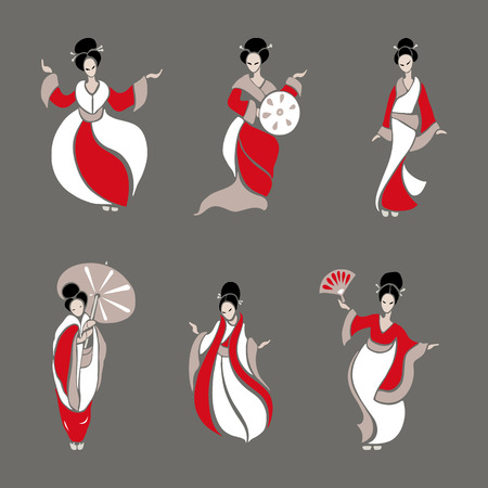black fashion model: Beautiful Chinese Women in ethnic style. Vector Illustration