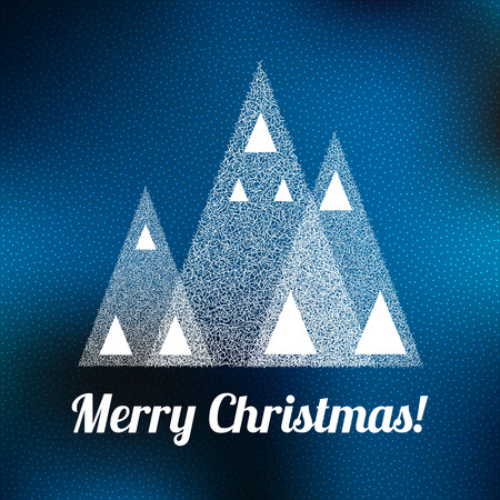 snow forest: Happy New Year Vintage Background. Christmas trees in snow forest. Merry Christmas Vector Illustration.