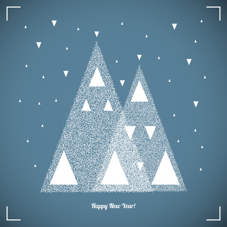 etnic: Happy New Year Vintage Background. Christmas trees in snow forest. Merry Christmas Vector Illustration.