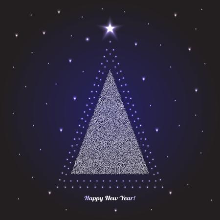 christmas tree illustration: Christmas Tree. Celebration Card, Poster Holidays Background. Vector Illustration Illustration