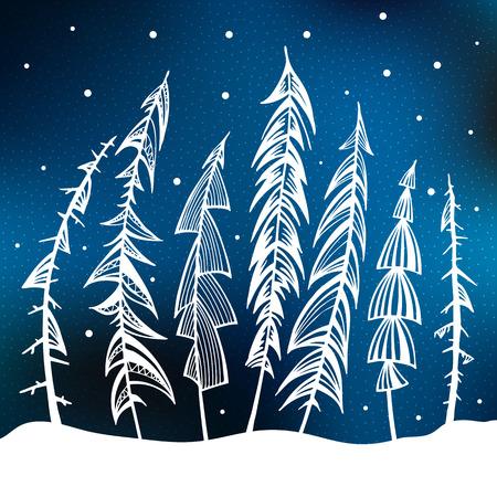 snow forest: Fir Trees in snow forest. Vintage Background. Vector Illustration. Illustration