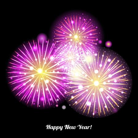 festive background: Festive Fireworks. Holidays Background Night sky, Celebrating Vector Illustration