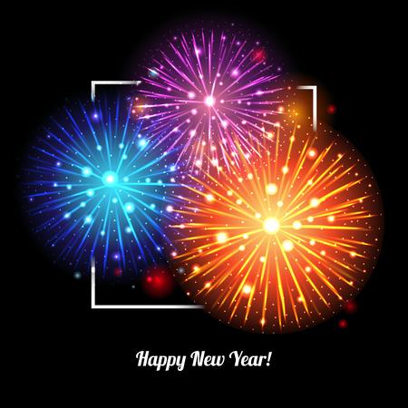 Festive Fireworks. Holidays Background Night sky, Celebrating Vector Illustration