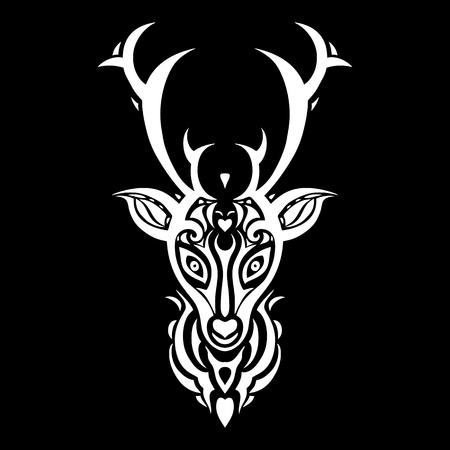 tribales: Cabeza de venado. Patr�n tribal del estilo del tatuaje polinesio. Ilustraci�n del vector.