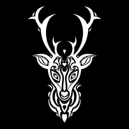 animal tattoo: Deer head. Tribal pattern Polynesian tattoo style. Vector illustration. Illustration