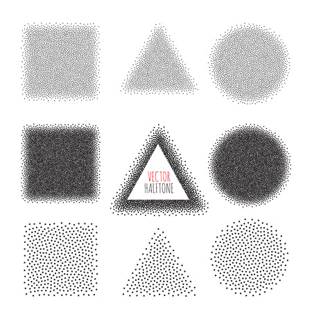 art work: Halftone Background set. Dotwork Abstract Vector illustration Vintage style Illustration