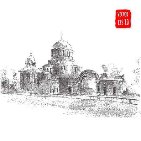 cristianismo: Edificio de la catedral. Dibujado a mano ilustración vectorial de arquitectura Vectores