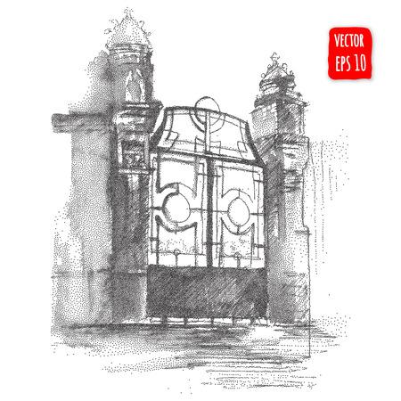 ruido: Puerta de la vendimia, dibujado a mano ilustración vectorial de arquitectura