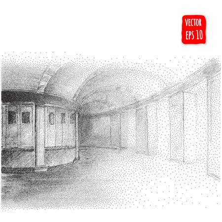 contaminacion acustica: Arcos abstractos. Dibujado a mano ilustración vectorial de arquitectura