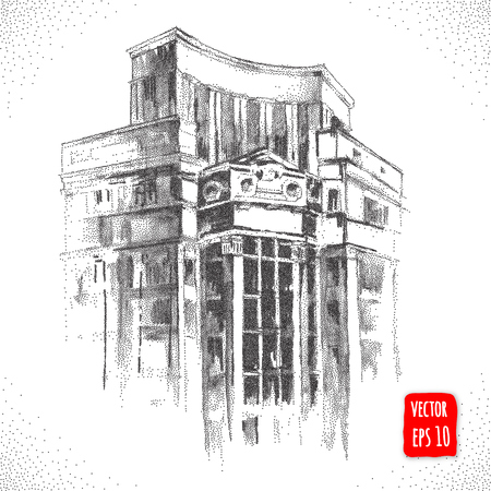 city building: City building. Hand drawn architectural Vector illustration