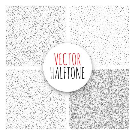 printing: Halftone Background set. Dotwork Abstract Vector illustration Vintage style Illustration