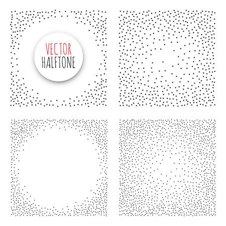 Halftone Background set. Dotwork Abstract Vector illustration Vintage style Illustration