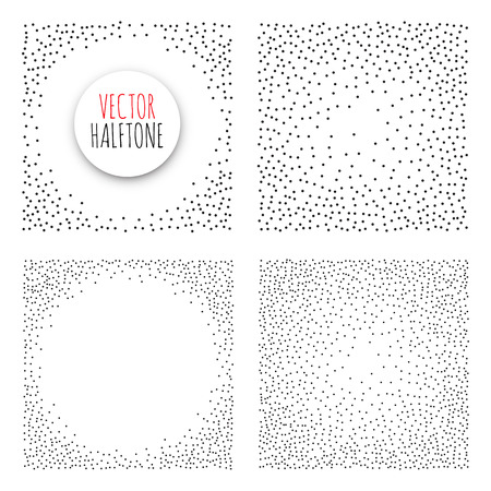 Halftone Background set. Dotwork Abstract Vector illustration Vintage style Illustration