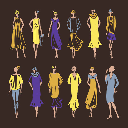 ink art: Retro Woman silhouette. Trace Hand drawn, fashion illustration Illustration