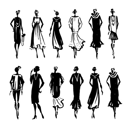 vintage dress: Retro Woman silhouette. Trace Hand drawn, fashion illustration Illustration