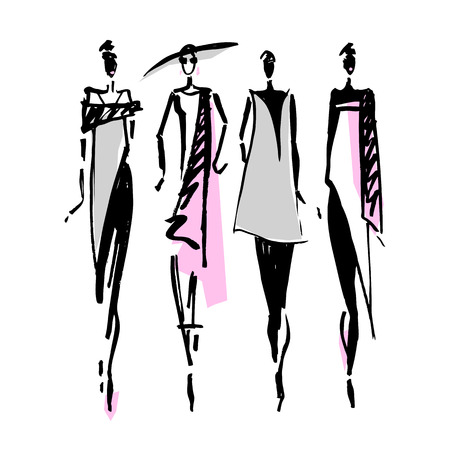 Beautiful Woman silhouette. Hand drawn fashion illustration. Vettoriali