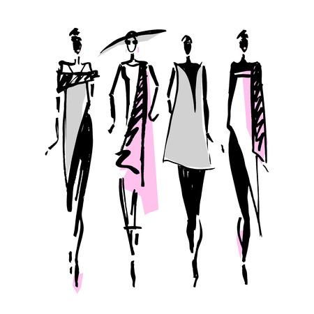 Beautiful Woman silhouette. Hand drawn fashion illustration. Vectores