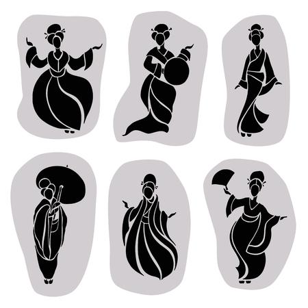 femme dessin: Belles femmes chinoises dans un style ethnique. Vecteur