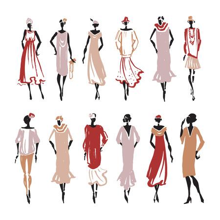 Silueta de la mujer retro. ilustración de moda