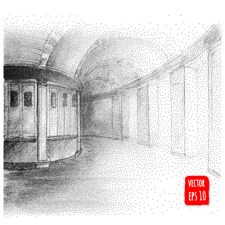 ink drawing: Abstract Arches. architectural illustration