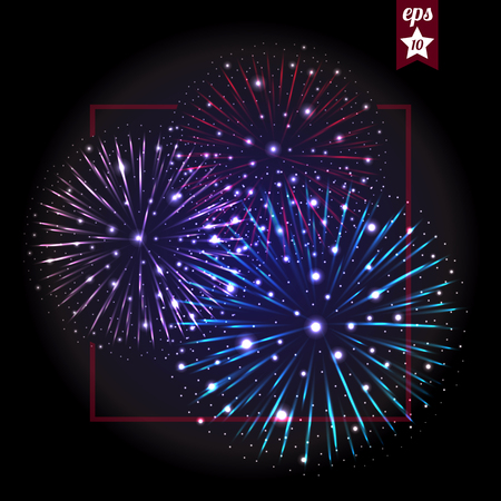 festive background: Festive Fireworks. Holidays Background Night sky, Celebrating Illustration Illustration