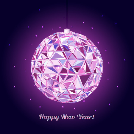 disco background: Geometric christmas ball. Abstract poster Merry Christmas
