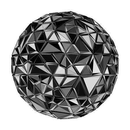 mirrorball: Black polygonal ball. Realistic illustration. Geometrical background