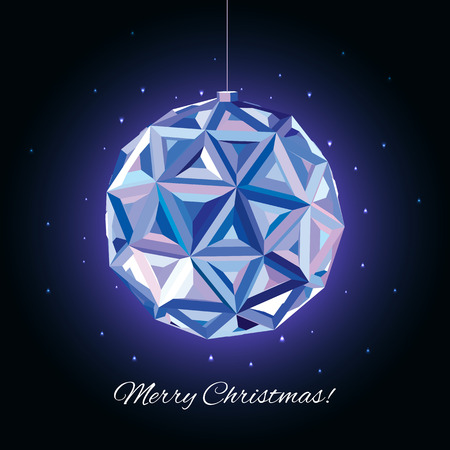 rime: Christmas and New Year greeting card. 3D Ball, illustration. Geometric background.