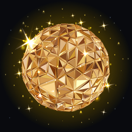 disco: Abstract 3D geometric illustration. Disco ball. Abstract poster