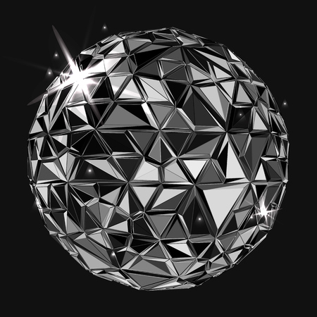 Black polygonal ball. Realistic illustration. Geometrical background