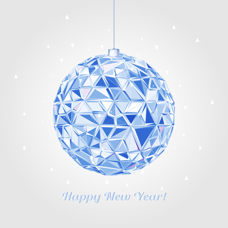 mirrorball: Abstract Geometric christmas ball. 3D polygonal illustration, light effect