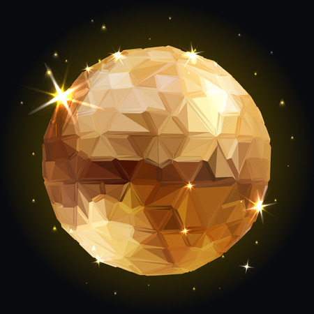 shiny metal: Abstract 3D geometric illustration. Disco ball Isolated Illustration