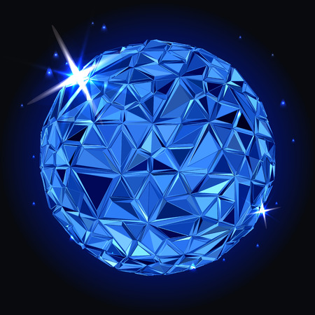 colours: Abstract Geometric christmas ball. 3D polygonal illustration, light effect