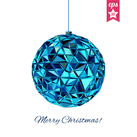 mirror ball: Geometric christmas ball. Abstract poster Merry Christmas