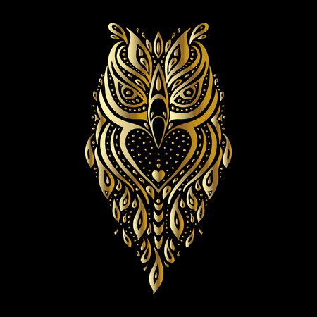 owl tattoo: Owl. Tribal pattern. Polynesian tattoo style Vector illustration