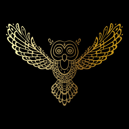 wise old owl: Owl. Tribal pattern. Polynesian tattoo style Vector illustration